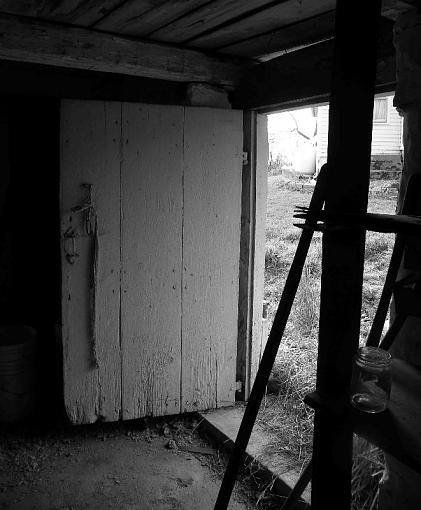 Weathered, Battered and Neglected-springhouse-out-door-b-w.jpg